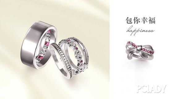 包贝尔为妻子包文婧戴上参与设计的i do专属婚戒,戒指上镶满钻石搭配