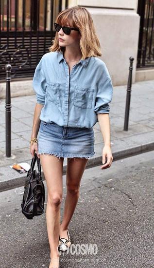 牛仔衬衫+同色系牛仔短裙