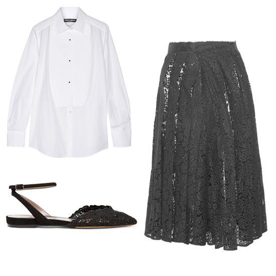 白衬衫+蕾丝半身裙搭配