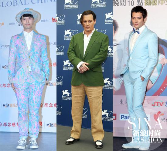 越来越多的男明星偏爱花色西服