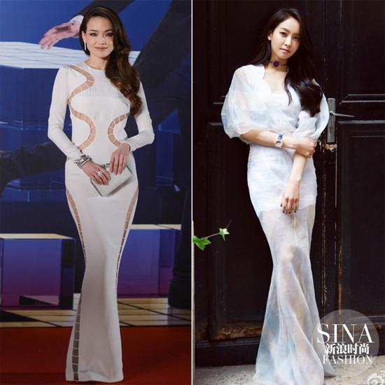 舒淇和宋茜的白色礼服