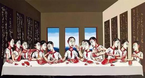 曾梵志的画作《最后的晚餐》