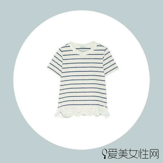 CLU 缎布边饰条纹棉质混纺平纹针织 T 恤$289