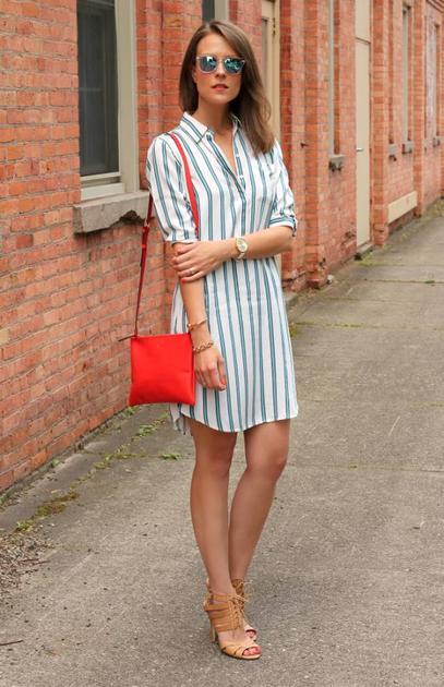 条纹衬衫裙