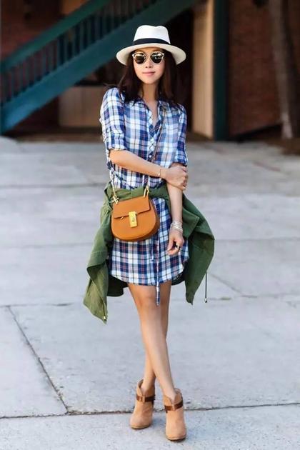 格纹衬衫裙
