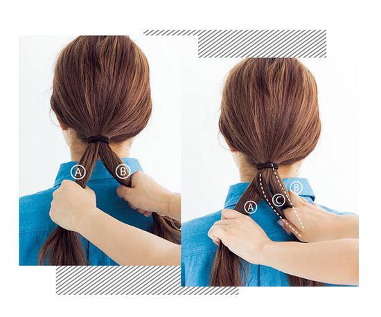 鱼骨辫的编法图解   step 1:将头发全部晋中到颈部,用一条橡皮筋扎