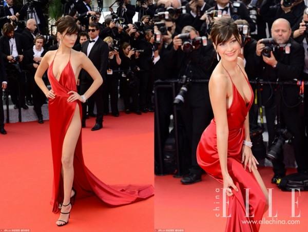 戛纳国际电影节上Bella极具杀伤力的红礼服