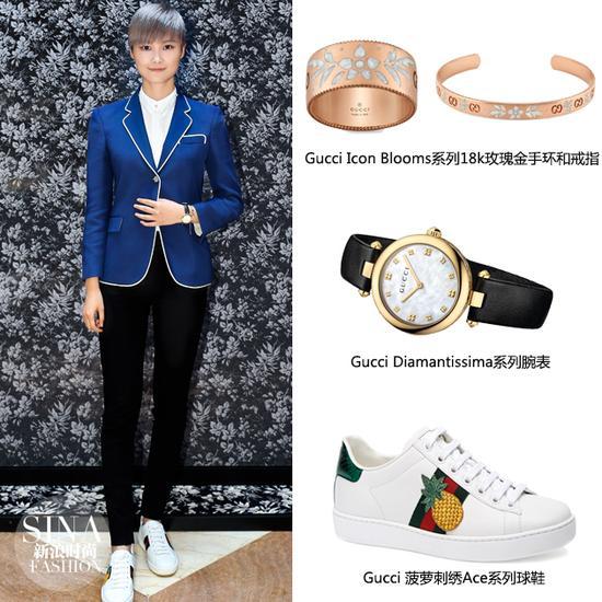 李宇春穿着深Gucci蓝色西服造型解读