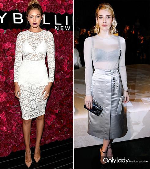 Gigi Hadid和Emma Roberts这白色或银白色透视上衣好一些