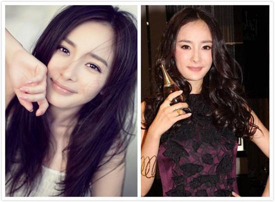 可杨幂偏偏过分追求成熟美,中分的刘海搭配蓬松厚重的长卷发,深色的图片