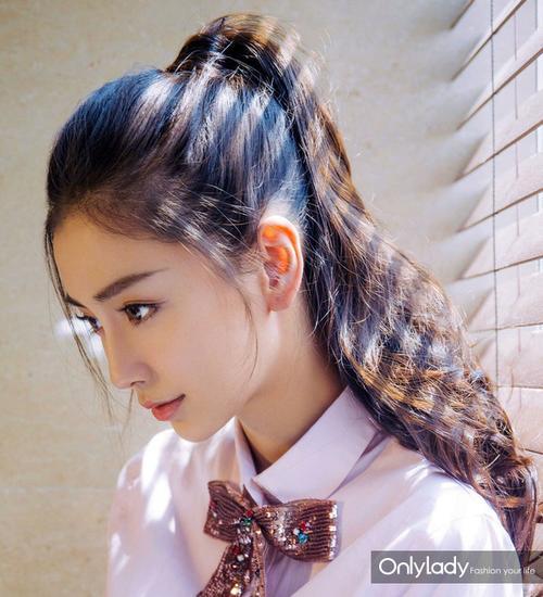 Angelababy版贝微微束高马尾真发型颜色标配2108头发流行女神图片