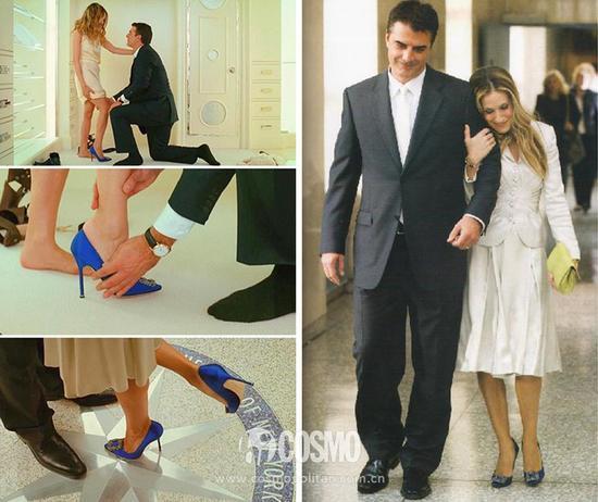 在电影版中,男主角 Mr.Big 向凯莉求婚时没有送上钻戒,而是用一双宝蓝色的钻扣缎面 Hangisi Pump 叩开芳心