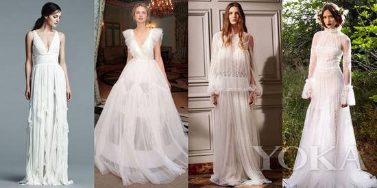 J.Mendel Bridal Spring 2017; Delphine Manivet Bridal Spring 2017; Chloe Pre-Fall 2016; Costarellos Spring 2017
