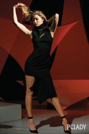 Gigi Hadid穿高开叉拍时尚大片