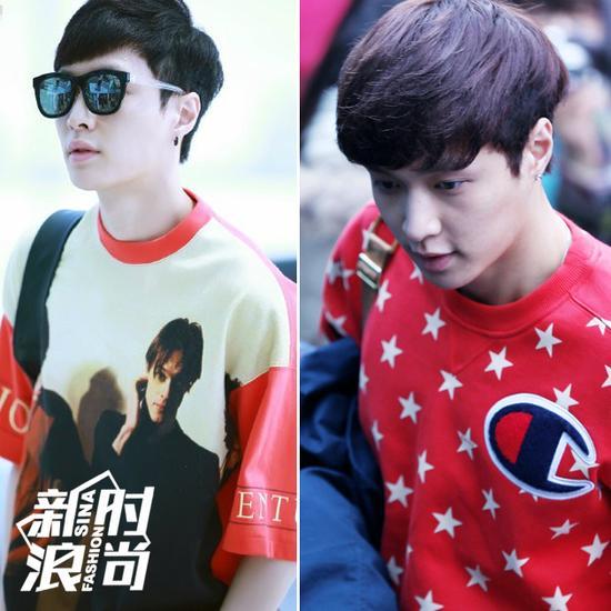 张艺兴穿红T恤、卫衣