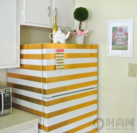 利用条纹变化,让冰箱看起来更洋气一些!这里你可能需要一些刻度尺!