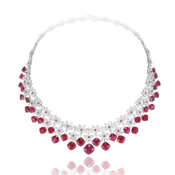 萧邦Red Carpet钻石红宝石项链