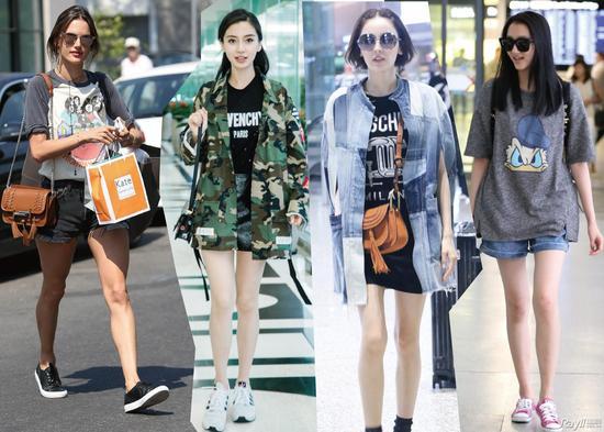 印花T恤+短裤+运动鞋
