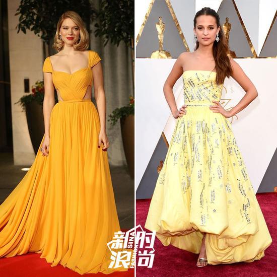 女明星在红毯上穿黄色礼服