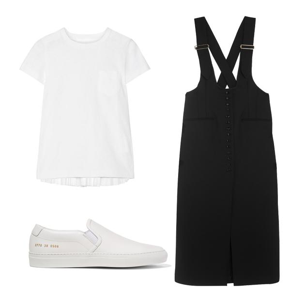 白色T恤搭配背带裙