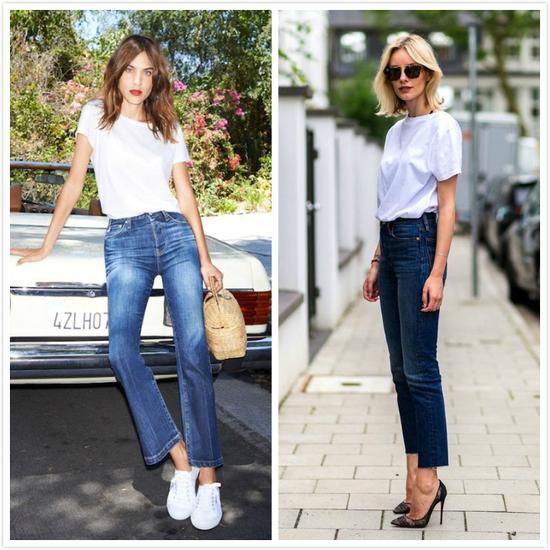 白t+牛仔裤