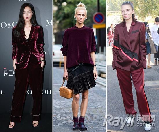 ◆刘雯身穿Edition10酒红色睡衣款西服套装  ◆小宋佳身穿KENZO 15秋冬酒红色西服套装
