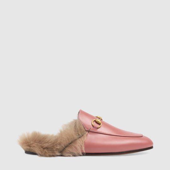 粉色Gucci皮拖鞋
