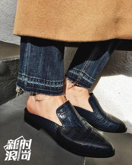 乐福鞋式的皮拖鞋