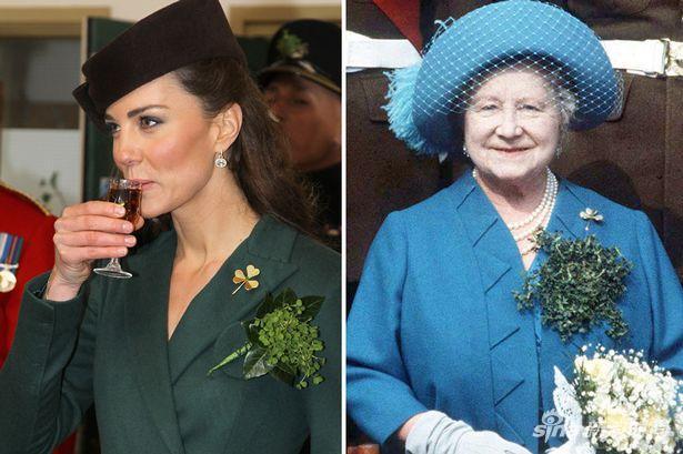 凯特王妃与女王妈妈佩戴同一枚三叶草胸针