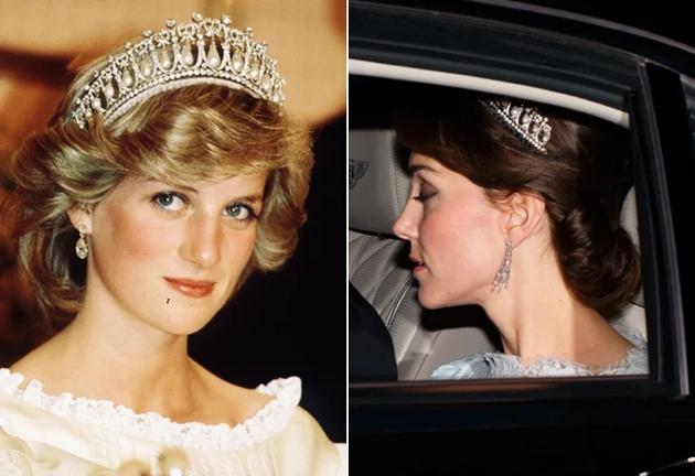 """戴安娜王妃&凯特王妃佩戴同一顶""""剑桥情人结""""冠冕-过把瘾 凯特王"""