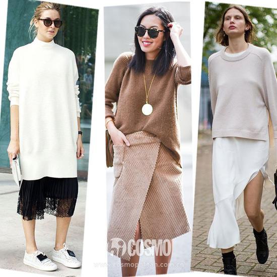 毛衣+半裙