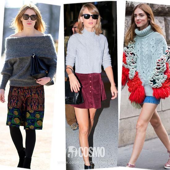 毛衣+短裤 短裙