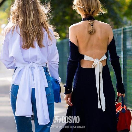 还有上面这件露背的蝴蝶结针织毛线连衣裙,背部的细节超美
