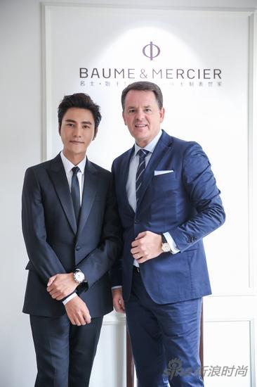 名士全球形象大使陈坤先生(左),名士首席执行官Alain Zimmermann先生(右)