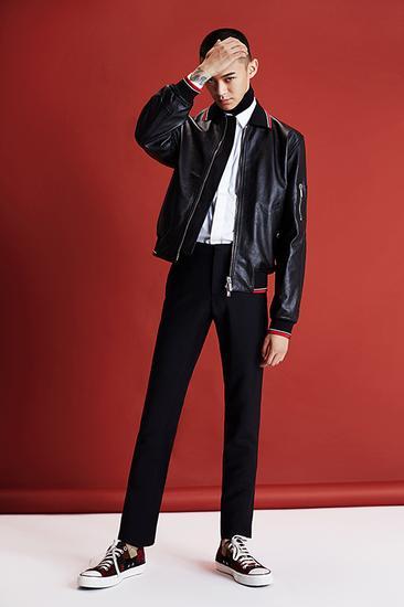 皮质拉链夹克 Dior Homme