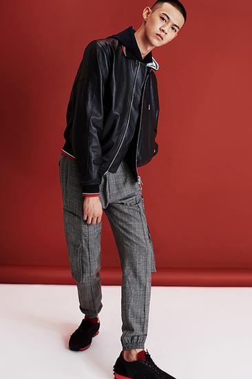 皮质拉链夹克 暗格纹工装收脚裤