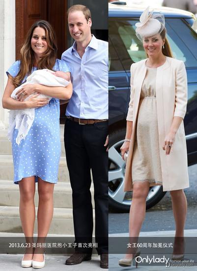 左图:生完小王子的第一次亮相;右图:怀孕期间