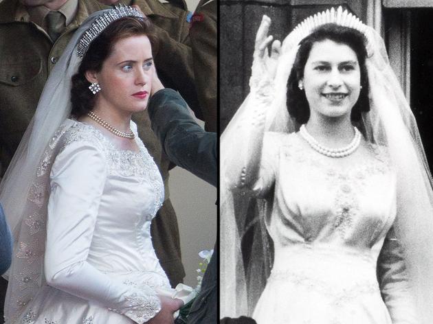 左为剧中克莱尔·芙伊,右为伊丽莎白二世大婚时照片