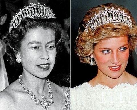 """左:伊丽莎白二世女王佩戴""""剑桥情人节王冠""""(Cambridge Lovers Knot Tiara);右"""