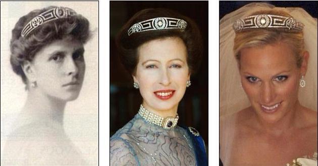 左:伊丽莎白二世女王的婆婆;中:安妮公主;右:安妮公主的女儿Zara Philips佩戴希腊漫步之安德烈阿斯亲王妃王冠