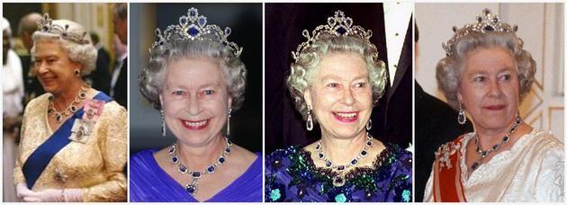 """伊丽莎白二世女王佩戴""""现代蓝宝石王冠""""(Modern Sapphire Tiara"""