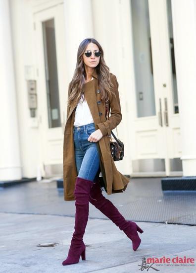 紫红色过膝长靴