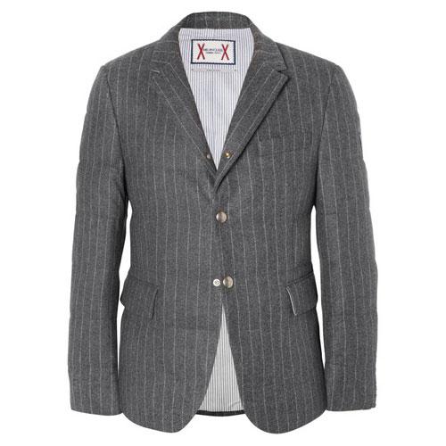 Moncler Gamme Bleu修身细条纹羊毛羽绒西装