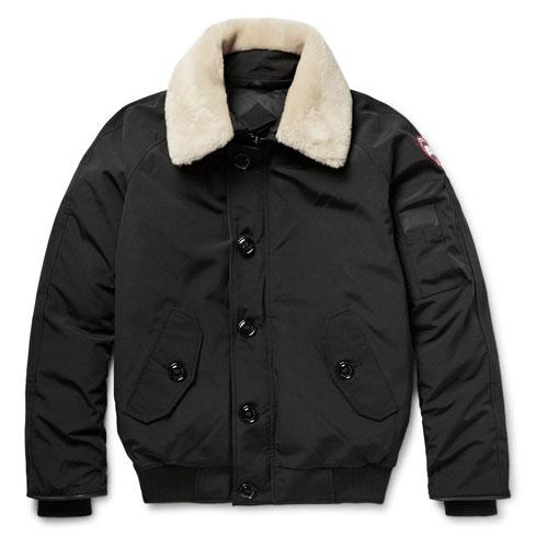 Canada Goose翻毛皮质镶边弧形羽绒夹克