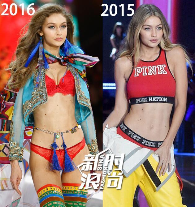 Gigi Hadid维秘秀场2016vs1025对比图