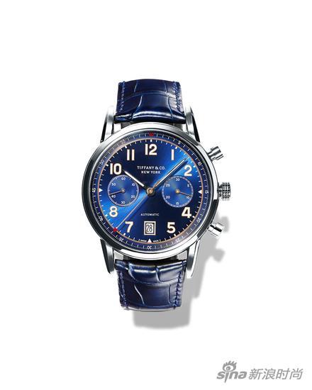 全新Tiffany CT60系列腕表,42毫米不锈钢计时表款,蓝色光面太阳纹表盘,日历显示,蓝色鳄鱼皮表带