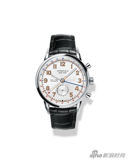 Tiffany CT60系列腕表,40毫米两地时表款,不锈钢表壳,鳄鱼皮表带
