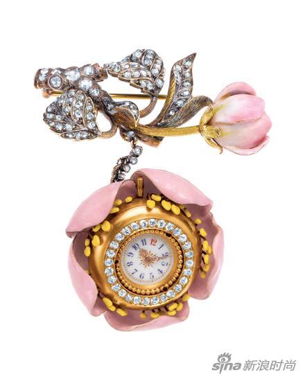 19世纪末由蒂芙尼首席设计师波尔丁?法汉姆(Paulding Farnham) 设计的苹果花造型胸针表
