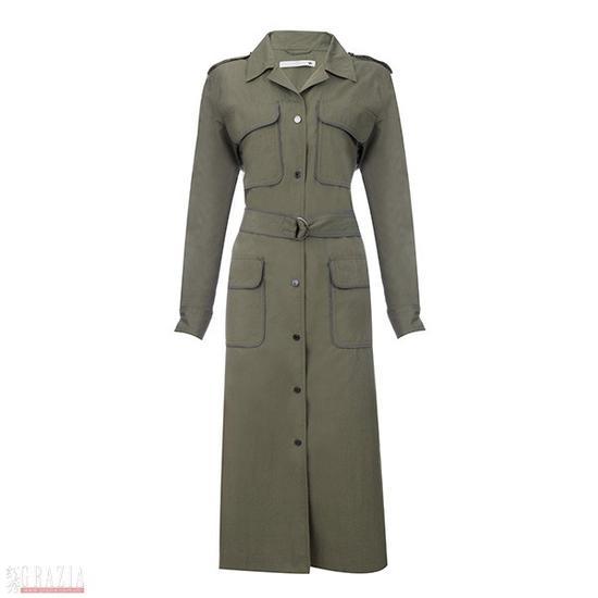 军绿色长款外套
