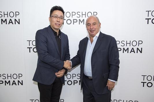 尚品网创始人及CEO赵世诚(左)与Arcadia集团主席菲利普-格林(右)